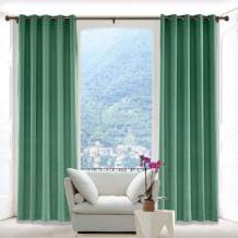 Macochico Solid Linen Curtains Room Drapery Panel with Antique Bronze Grommet for Bedroom Classrooms Sliding Glass Door Privacy Protection,Peacock 84W x 84L Inch (1 Panel)