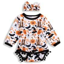 Newborn Baby Girls Halloween Romper Pumpkin Funny Bodysuit Tassel Jumpsuit Headband 2Pcs Outfits