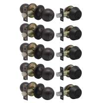5 Pack -Oil Rubbed Bronze Entry Knob and Double Cylinder Deadbolts,Keyed Alike Entry Handleset for Front Entrance Door,Lock Sets with Same Key,Universal Lock,Contractor Park