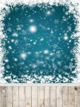 AOFOTO 6x8ft Snowflakes Backdrop with Floor White Christmas Photography Background Abstract Snow Vintage Wooden Plank Kid Baby Girl Artistic Portrait Photoshoot Studio Props Video Drape Vinyl