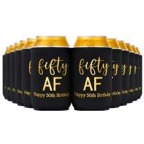 Crisky Fifty Can Cooler, 50th Birthday Decorations Beer Sleeve Party Favor, Can Covers with Insulated Covers, 12-Ounce Neoprene Coolers for Soda, Beer, Can Beverage, 12 Black Gold