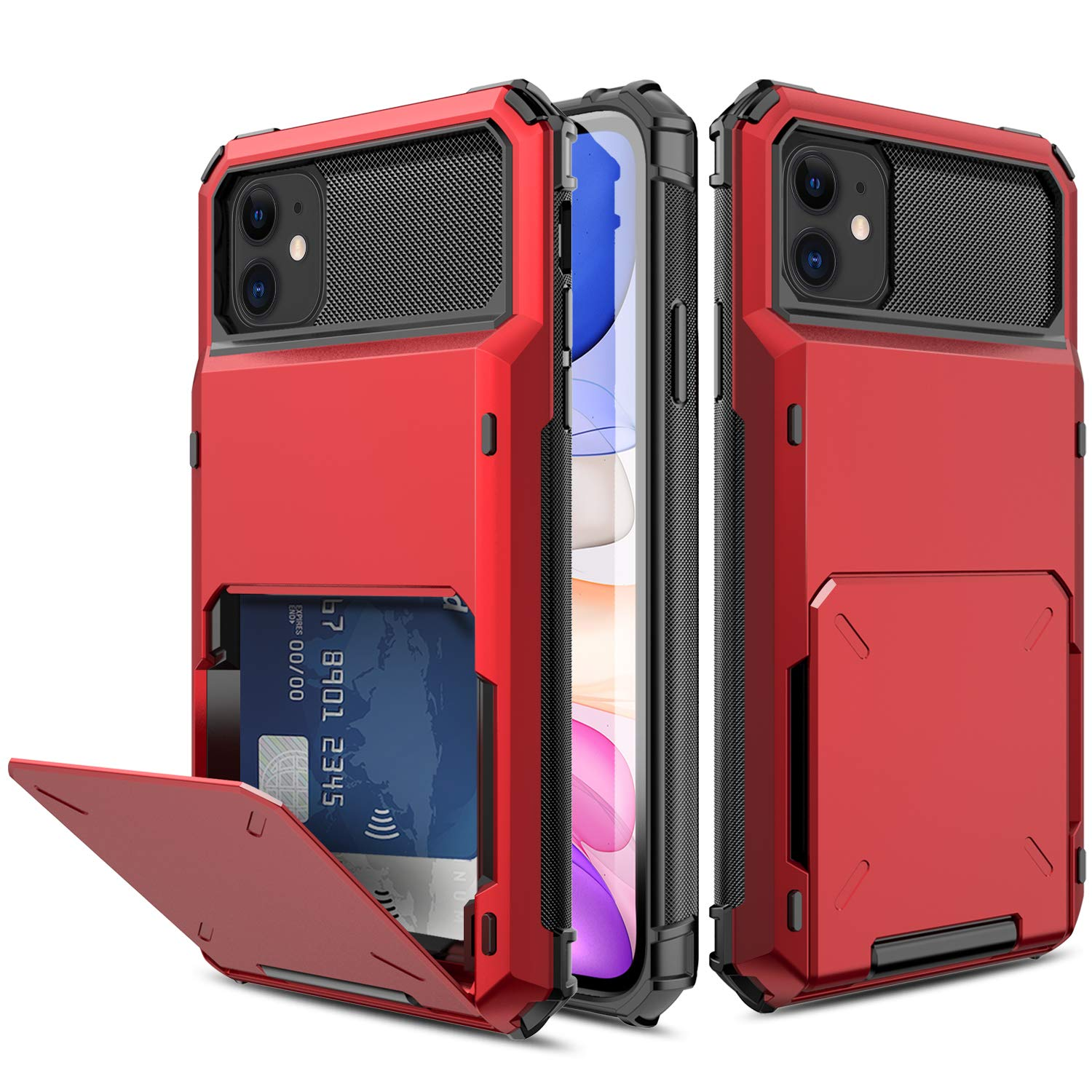 Yunerz Compatible iPhone 11 Case, iPhone 11 Wallet Dual Layer Protective Case with Card Holder Slot for iPhone 11 2019 6.1inch(red)