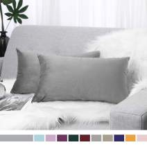 """Lewondr Velvet Soft Throw Pillow Cover, 2 Pack Modern Solid Color Square Decorative Throw Pillow Case Cushion Covers for Car Sofa Bed Couch Home Decor, 12""""x20""""(30x50cm), Misty Gray"""