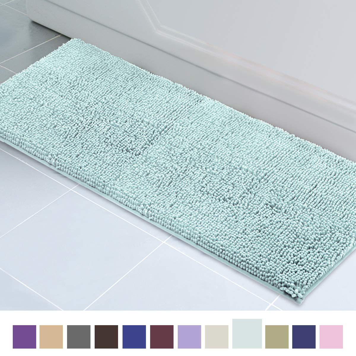 Picture of: Itsoft Non Slip Shaggy Chenille Soft Microfibers Runner Large Bath Mat For Bathroom Rug Water Absorbent Carpet Machine Washable 21 X 59 Inches Spa Blue