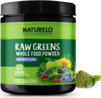 NATURELO Raw Greens Superfood Powder - Wild Berry Flavor - Boost Energy, Detox, Enhance Health - Organic Spirulina - Wheat Grass - Whole Food Vitamins from Fruit, Vegetable Extracts - 60 Servings
