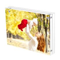 Sooyee 4X6 Acrylic Frame, Clear,Magnetic Photo Frame, Double Sided Frameless Standing in Desktop Picture Display,Pack of 1(10 + 10MM Thickness)