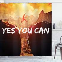 """Ambesonne Yes You Can Themed Shower Curtain Motivational Inspirational Climbing Jumping Sports of Congratulations Gifts Fan Success for Mountains Lovers Hiking Trekking, 70"""" Long, Yellow Brown"""