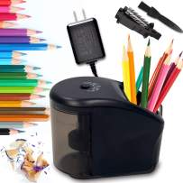 Pencil Sharpener, Upgrade Electric Pencil Sharpener Professional with Pen Holder, Portable Electric Sharpener for No.2/ (6-8mm) Pencils with Cleaning Brush in Home/School/Classroom/Office
