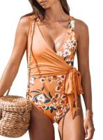 Aleumdr Womens Elegant Tie Side One-Piece Swimsuit Floral Printed Beach Swimwear Bathing Suit