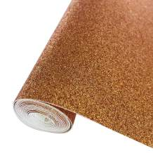 """Sov Sparkly Superfine Glitter Leather Sheets Shiny Faux Fabric Canvas Perfect for Craft DIY Handmade Projects Patchwork Bow Craft Key Chain 8"""" x 53"""" (21 cm x 135 cm) 1 roll(Champaign Gold)"""