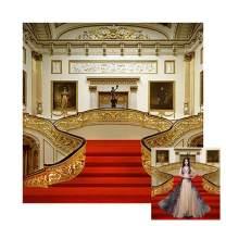 Baocicco 10x10ft Wedding Backdrop Resplendent Theater Interior Design Decorations Beautiful Balcony Red Carpet Figures Photography Background Wedding Ceremony Travel Portrait Studio Props