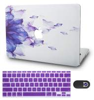 "KECC Laptop Case for Old MacBook Pro 13"" Retina (-2015) w/Keyboard Cover + Webcam Cover Plastic Hard Shell A1502/A1425 3 in 1 Bundle (Purple Flower)"