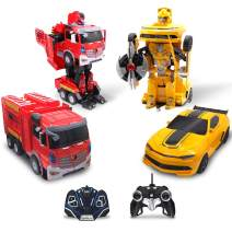 Family Smiles Kids RC Toy Car Transforming Fire Truck Yellow Sport Cars Set Transformation 360 Spinning Speed Drifting Remote Control Vehicle Toys for Boys