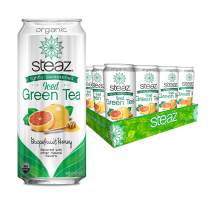 Steaz Organic Lightly Sweetened Iced Green Tea, Grapefruit Honey, 16 FL OZ (Pack of 12)
