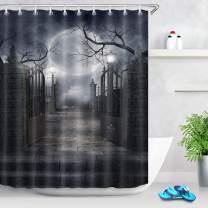LB Halloween Shower Curtain Moon Historical Gate Grey Brick Yard Bath Curtain 60x72 inch Bathroom Curtains with Hooks Waterproof Polyester Fabric