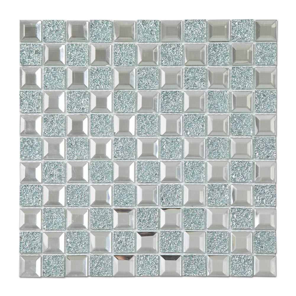 Diflart Mirror Glass Mosaic Tile Crystal Diamond Mosaic Tile (Mirror Silver 6 Sheets)