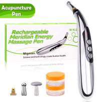 3-in-1 Acupuncture Pen, USB Rechargeable Electronic Acupuncture Pen Meridian Therapy Machine Massager Relief Pain Tools with 3 Massage Heads 9 Levels