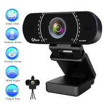HD Webcam with Microphone, Akyta 1080P Desktop Computer PC Web Camera, Laptop USB Webcam for Skype OBS Video Chat Record YouTube Twitch Game Streaming Video Conference, Webcam with Privacy Shutter