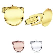 Sterling Silver .925 Round Cufflinks with Secure Solid Hinges, Engravable, 14mm Diameter. Available in Silver, Yellow Gold Plated Silver & Rose Gold Plated Silver. Made in Italy
