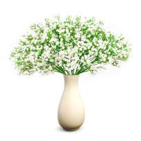 """HANTAJANSS 24 pcs Baby Breath Gypsophila Artificial Flowers Bouquets Fake Real Touch Flowers for Wedding Party Decoration DIY Home Decor 21"""" White"""