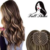 Full Shine Mono Hair Topper Real Hair Wiglets For Thinning Hair 13X13 Base Size Hairpieces 16 Inch Color 4 Highlight With 27 Strawberry Blonde Clip In Remy Topper Toupee Extensions For Women
