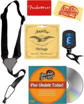 Tenor Ukulele Accessory Bundle with Aquila Strings, Clip-On Tuner, Strap, Fender Play Online Lessons, Austin Bazaar Instructional DVD, and Polishing Cloth