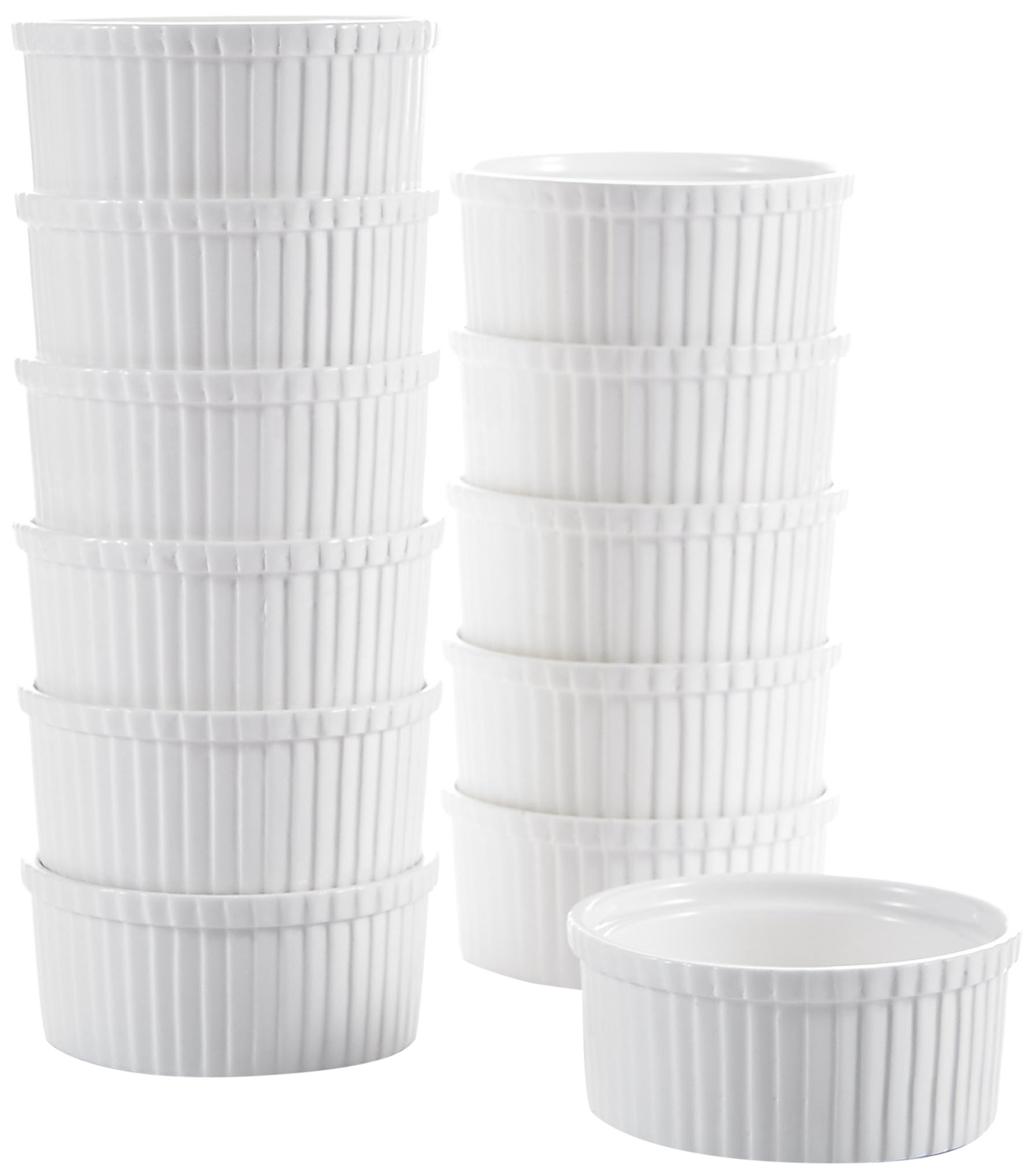 "Malacasa, Series Ramekin, 3.5"" Ivory White Porcelain Serving Dishes Dipping Bowls, 6.5oz Ramekins Souffle Dish Set of 12"