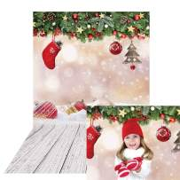 Allenjoy Winter Christmas Bokeh Backdrop Wood Texture Baby Kids Photography Banner Wooden Floor Snow Pine Ball Merry Xmas Family Home New Year Party Decor 5x7ft Photoshoot Background Photo Booth Props
