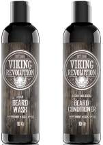 Viking Revolution Beard Wash & Beard Conditioner Set w/Argan & Jojoba Oils – Softens, Smooths & Strengthens Beard Growth - Natural Peppermint and Eucalyptus Scent - Beard Shampoo w/Beard Oil (10 oz)