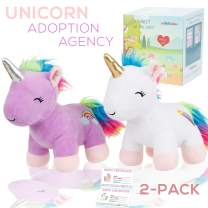 Adopt a Unicorn Stuffed Animal - Our Adoption Agency is Open. 2 New Cute Baby Unicorns Plush Animals toys. With cute rainbow and shooting star cutie marks. cute, fun, soft and Pre- Box wrapped!