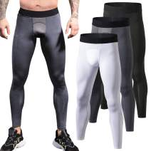 LEICHR 1~3 Pack Mens Compression Pants Running Tights, Baselayer Gym Leggings Tights, Cool Dry Sports Pants