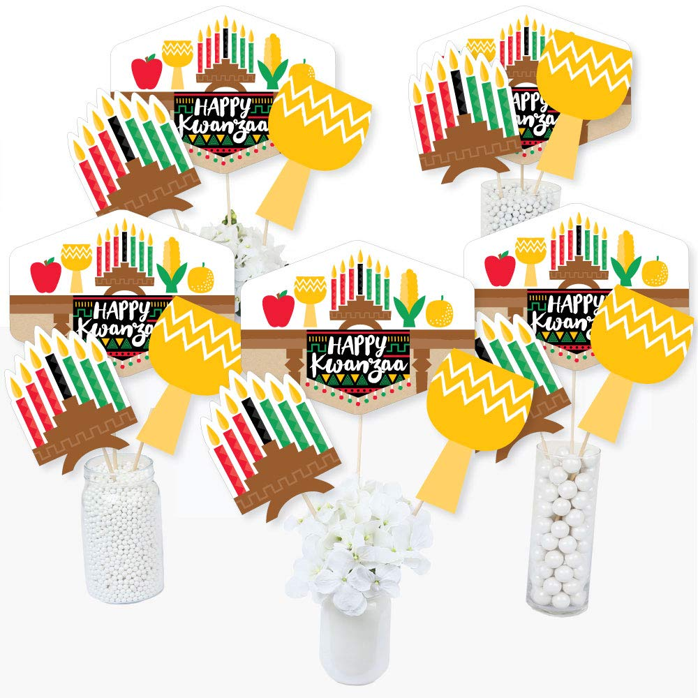 Big Dot of Happiness Happy Kwanzaa - African Heritage Holiday Party Centerpiece Sticks - Table Toppers - Set of 15