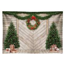 Funnytree 7x5FT Christmas Wood House Photography Backdrop for Xmas Decoration Pine Tree Gifts Rustic Door Background Photo Booth Shoot Durable Fabric Washable