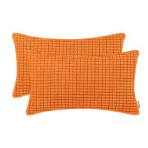 BRAWARM Pack of 2 Cozy Bolster Pillow Covers Cases for Couch Sofa Home Decoration Supersoft Corduroy Corn Striped with Piping Both Sides 12 X 20 Inches Sun Orange