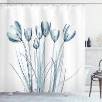"""Ambesonne Flower Shower Curtain, X-ray Image of Tulips Solarized Effect Nature Inspired, Cloth Fabric Bathroom Decor Set with Hooks, 84"""" Long Extra, Petrol Blue"""