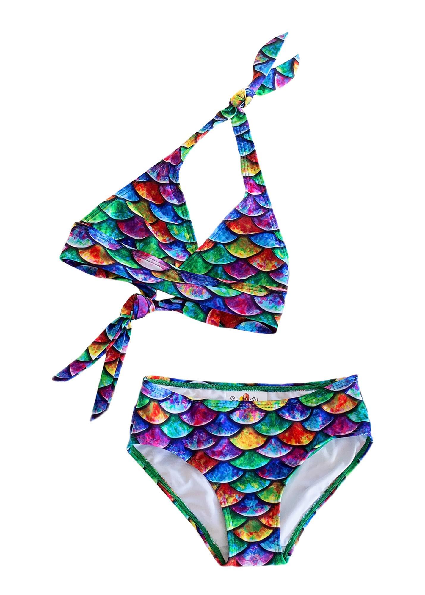 Sun Tails Mermaid Swimsuit - Girls Bikini Set - Matching Scale Colors (8- Teen/Adult L (JL 12-16), Hawaiian Rainbow)