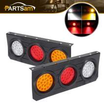 Partsam 2Pcs LED Truck Trailer Tail Lights Bar with Iron Bracket Base Waterproof 12V-30V 63 LED 4 Inch Round Led Trailer Tail Lights Bar Stop Turn Signal Running Backup Reverse Lights Lamps RV Camper