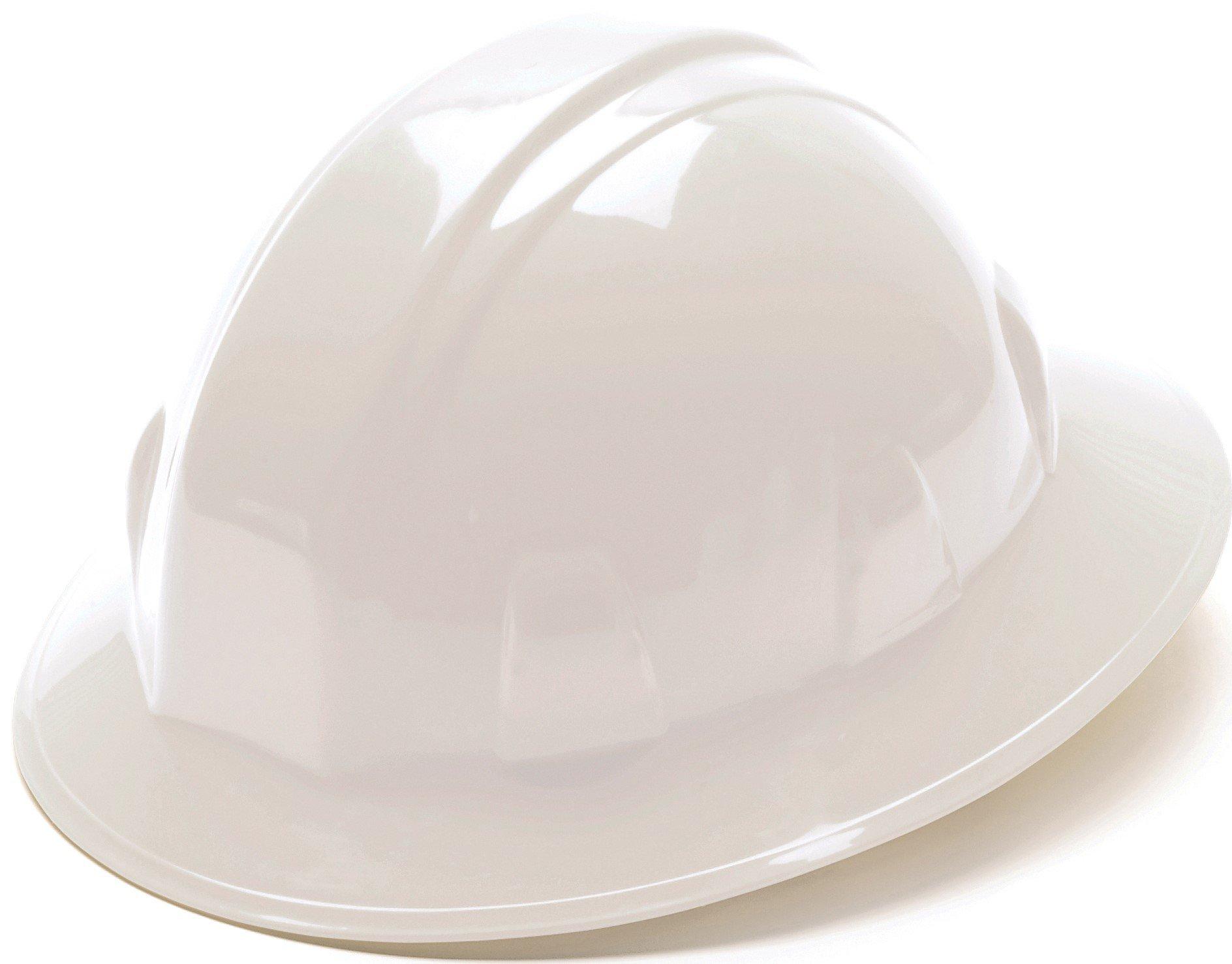 Pyramex Safety SL Series Full Brim Hard Hat, 4-Point Ratchet Suspension, White