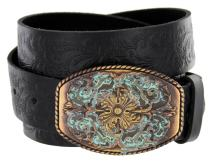 "Women's Western Tooled Full Grain Leather Jean Belt Black Brown 1.5"" Wide"