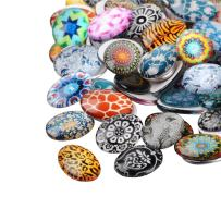 PH PandaHall 100pcs Oval Mosaic Printed Glass Cabochons Mixed Color 25x18mm Cabochons Glass Mosaic Tile for Photo Pendant Jewelry Making