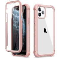 """Dexnor iPhone 11 Pro Max Case with Screen Protector Slim Clear Rugged Full Body Protective Shockproof Hard Back Defender Dual Layer Heavy Duty Bumper Cover Case for iPhone 11 Pro Max 6.5"""" - Pink"""