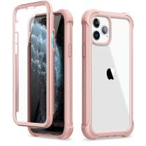"Dexnor iPhone 11 Pro Max Case with Screen Protector Slim Clear Rugged Full Body Protective Shockproof Hard Back Defender Dual Layer Heavy Duty Bumper Cover Case for iPhone 11 Pro Max 6.5"" - Pink"