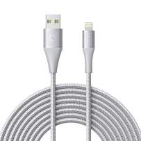 Xcentz iPhone Charger 10ft, Apple MFi Certified Lightning Cable, Braided Nylon High-Speed iPhone Cable with Premium Metal Connector for iPhone X/XS/XR/XS Max/8/7/6/5S/SE, iPad Mini/Air, Silver