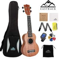 EastRock Soprano Concert Ukulele 21 Inch Ukelele Set for Kids Beginners & Adults with Bag Tuner Strap Cleaning Cloth Ukulele Picks Carbon Strings (Soprano, Mahogany)