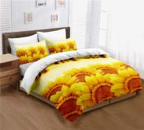 Sunflower Duvet Cover Set Full Size, Yellow Sunflowers Petal Painting Effect and in Minimalistic Design Artwork, Decorative 3 Piece Bedding Set with 2 Pillow Cases, Modern Style for Men and Women