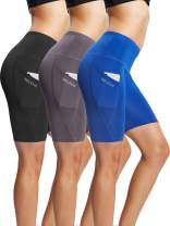 Neleus Women's High Waist Workout Running Yoga Compression Shorts with Pocket,Tummy Control