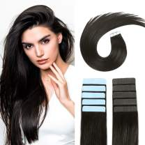 SUYYA Tape in Hair Extensions 100% Remy Human Hair 20 inches 20pcs 50g/pack Straight Seamless Skin Weft Tape Hair Extensions(20 inches Color 1B Off Black)