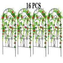 """Amagabeli 16 Pack Garden Trellis for Climbing Plants 60"""" x 18"""" Rustproof Black Iron Potted Vines Vegetables Flowers Patio Metal Wire Lattices Grid Panels for Ivy Roses Cucumbers Clematis Supports GT02"""