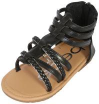 bebe Toddler Girls' Sandals – Leatherette Strapped Gladiator Sandals with Heel Zipper