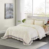 HIG Pintuck Comforter Set Queen Ivory - Contrast Color Ruffled Gray - Ultra Soft Hypoallergenic Prewashed Microfiber - Shabby Chic Farmhouse Style - 3pc Bedding Set (ELSA-Queen,Ivory/Light Gray)
